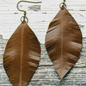 Jewelry - XXXXX Sold Genuine Leather Feather Earrings CAMEL